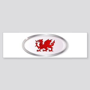 Welsh Dragon Oval Button Bumper Sticker
