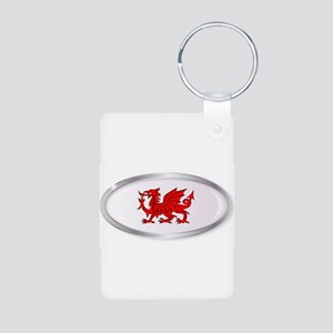Welsh Dragon Oval Button Keychains