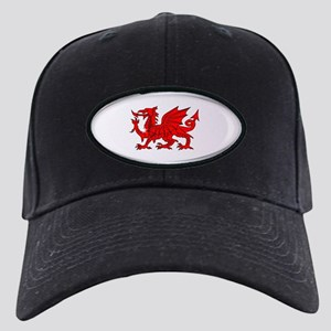 Welsh Dragon Oval Button Black Cap