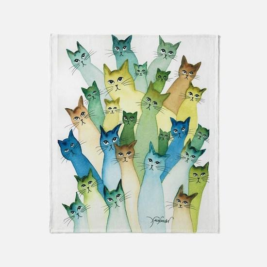 Cute Feline art Throw Blanket