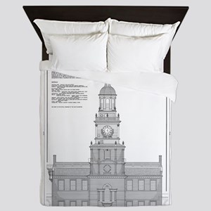 Independence Hall Blueprint Schematics Queen Duvet