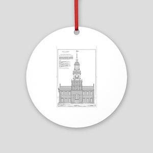 Independence Hall Blueprint Schemat Round Ornament