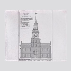 Independence Hall Blueprint Schemati Throw Blanket