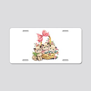 Vintage Kittens in a Basket Aluminum License Plate