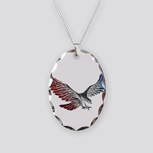 Red White and Blue Eagle 2 Necklace Oval Charm