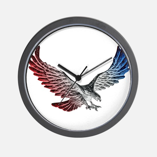 Red White and Blue Eagle 2 Wall Clock