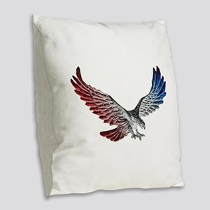 Red White and Blue Eagle 2 Burlap Throw Pillow