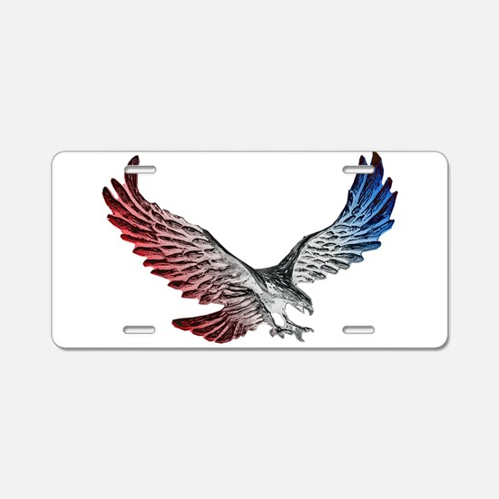 Red White and Blue Eagle 2 Aluminum License Plate