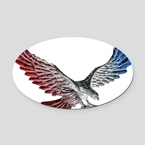 Red White and Blue Eagle 2 Oval Car Magnet
