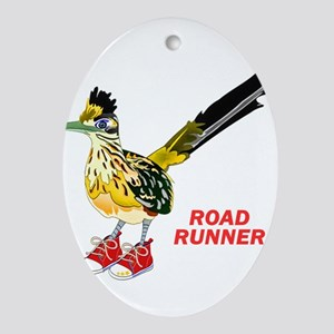 Road Runner in Sneakers Oval Ornament
