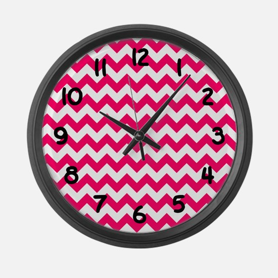 Bright Pink Chevron Large Wall Clock