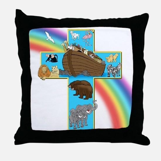 Blue Noah's Cross Throw Pillow