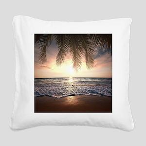 Tropical Beach Square Canvas Pillow