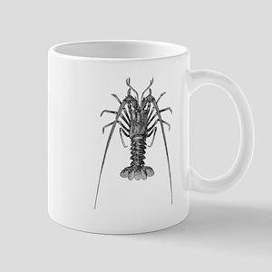 Vintage Spiny Lobster Lobsters Black White Mugs