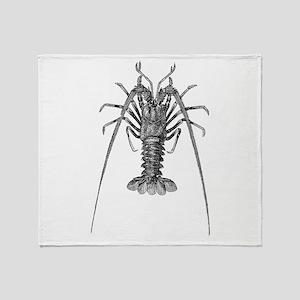 Vintage Spiny Lobster Lobsters Black Throw Blanket