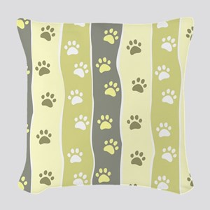 Cute Paw Prints Woven Throw Pillow