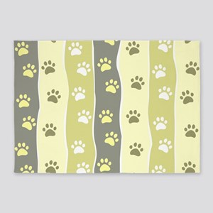 Cute Paw Prints 5'x7'Area Rug