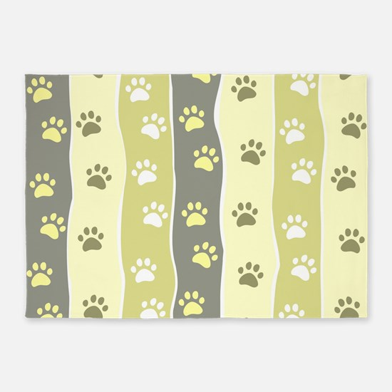 Cute Paw Prints 5'x7'Area Rug