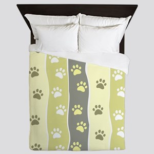 Cute Paw Prints Queen Duvet