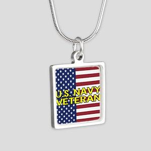 U.S. Navy: Veteran (Americ Silver Square Necklace