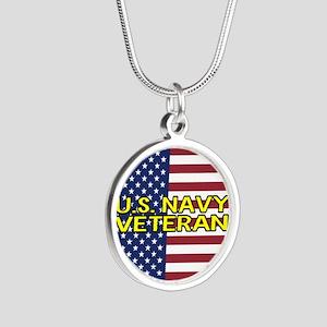 U.S. Navy: Veteran (American Silver Round Necklace