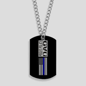 Police: Proud Dad (Black Flag Blue Line) Dog Tags