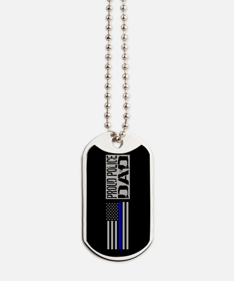 Police: Proud Dad (Black Flag Blue Line) Dog Tags