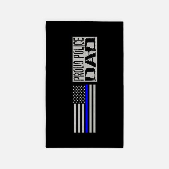 Police: Proud Dad (Black Flag Blue Line) Area Rug