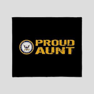 U.S. Navy: Proud Aunt (Black) Throw Blanket
