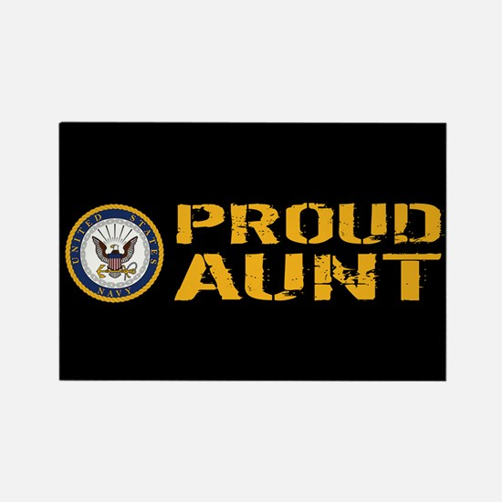 U.S. Navy: Proud Aunt (Black) Rectangle Magnet