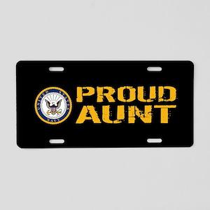 U.S. Navy: Proud Aunt (Blac Aluminum License Plate