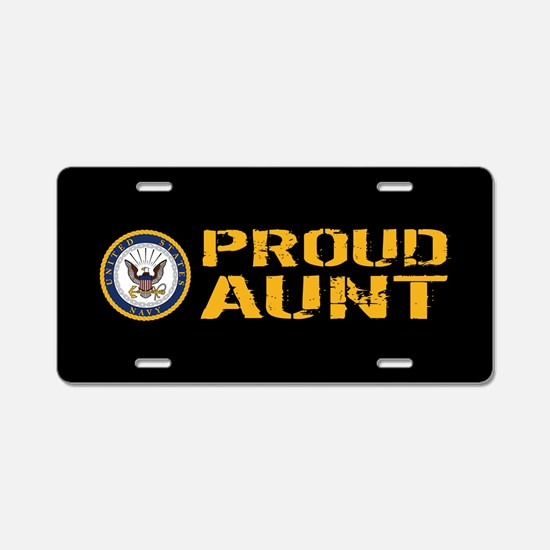 U.S. Navy: Proud Aunt (Blac Aluminum License Plate