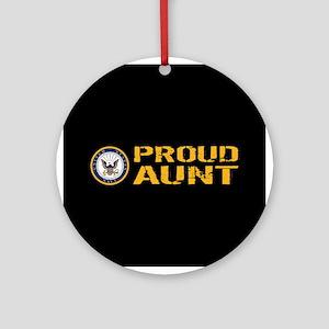 U.S. Navy: Proud Aunt (Black) Round Ornament