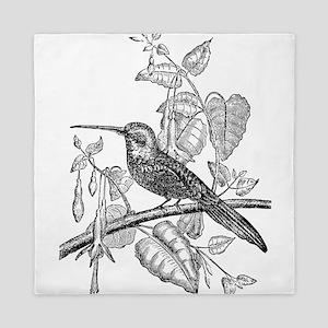 Vintage Tailed Jacamar Bird Black Whit Queen Duvet