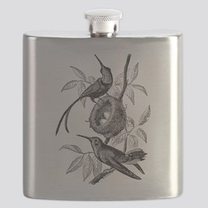 Vintage Hummingbird Bird Bird Black White Flask