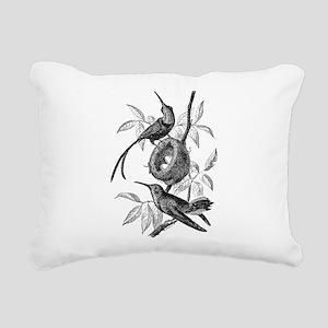 Vintage Hummingbird Bird Rectangular Canvas Pillow