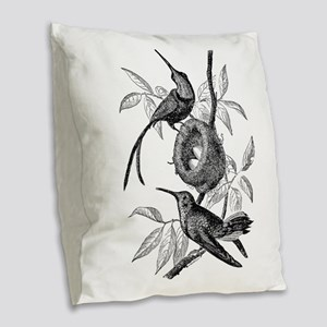 Vintage Hummingbird Bird Bird Burlap Throw Pillow