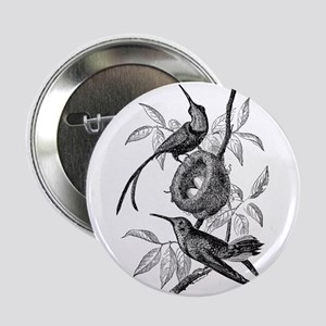 "Vintage Hummingbird Bird Bird Black W 2.25"" Button"