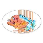 Cartoon Fish Grouper Oval Sticker