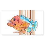 Cartoon Fish Grouper Rectangle Sticker