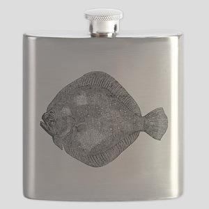 Vintage Flounder Fish Fishes Black White Flask