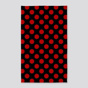 Red and Black Polka Dots Area Rug