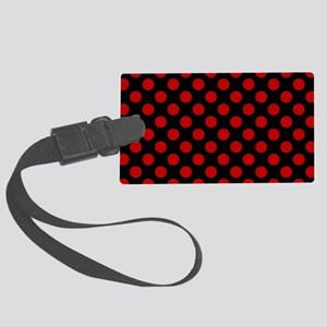 Red and Black Polka Dots Large Luggage Tag