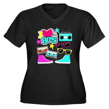 5d092075a43 I love the 80s - Pop culture Colorful Design Women s Plus Size V-Neck Dark  T-Shirt