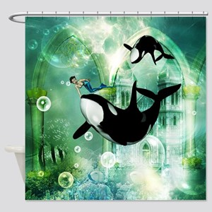 Awesome Orca Shower Curtain