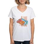 Cartoon Fish Grouper Women's V-Neck T-Shirt