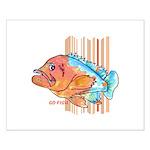 Cartoon Fish Grouper Small Poster
