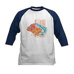 Cartoon Fish Grouper Kids Baseball Jersey