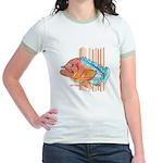 Cartoon Fish Grouper Jr. Ringer T-Shirt
