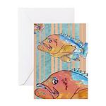 Cartoon Fish Grouper Greeting Card